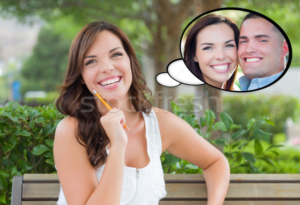 Stock photo: Thoughtful Young Woman with Herself and Handsome Young Man Insid