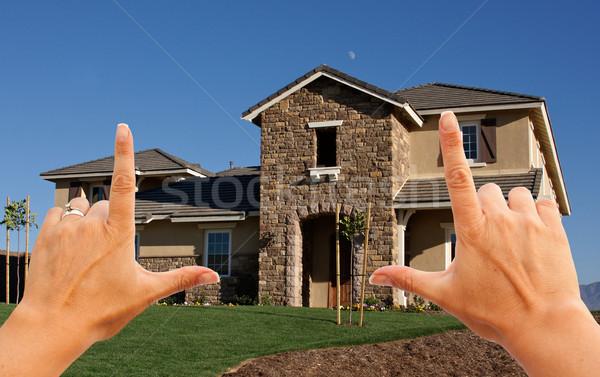 Stock fotó: Női · kezek · gyönyörű · ház · újonnan · fű