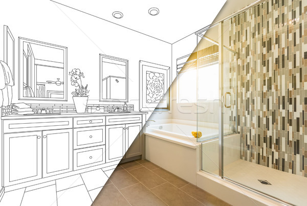 Custom Master Bahroom Design Drawing with Cross Section of Finis Stock photo © feverpitch