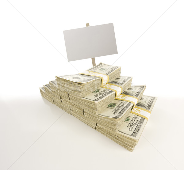 Stacks of One Hundred Dollar Bills with Blank Sign on Gradation Stock photo © feverpitch