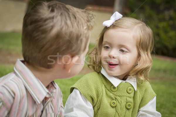Adorable Brother and Sister Children Playing Outside Stock photo © feverpitch