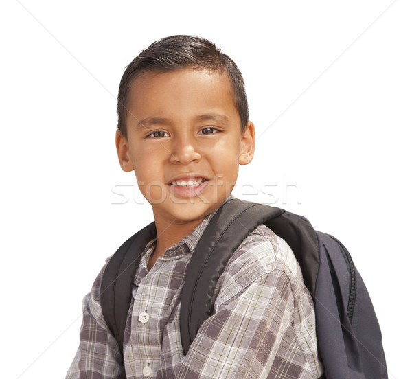 Happy Young Hispanic Boy Ready for School on White Stock photo © feverpitch