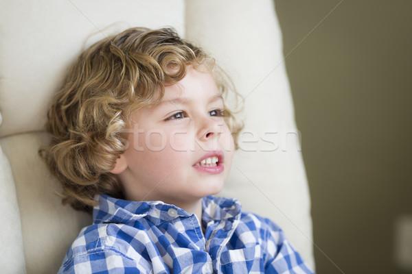 かわいい ブロンド 少年 空想 座って 椅子 ストックフォト © feverpitch