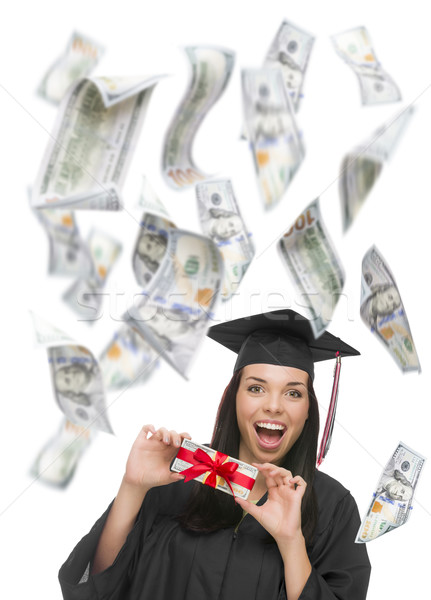 Stock photo: Female Graduate Holding $100 Bills with Many Falling Around Her