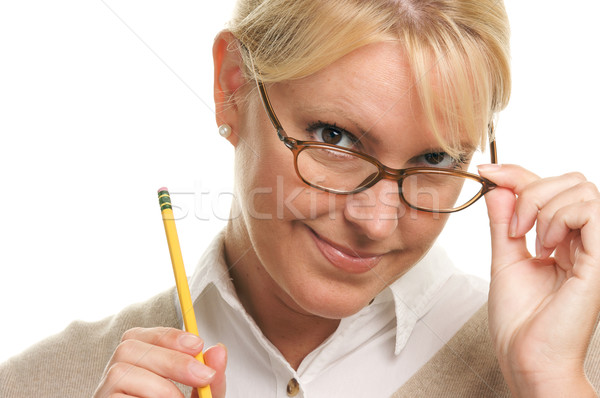 Stok fotoğraf: Güzel · bir · kadın · kalem · yalıtılmış · beyaz · okul · çalışmak