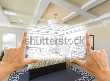 Kéz tart nagyító vám konyha terv Stock fotó © feverpitch
