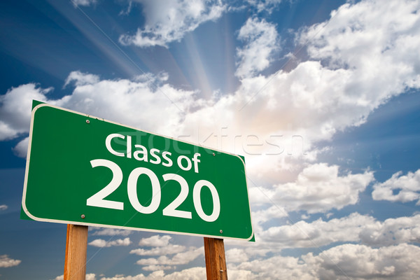 Class of 2020 Green Road Sign with Dramatic Clouds and Sky Stock photo © feverpitch