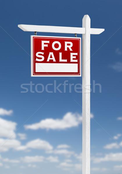 Vente immobilier signe ciel bleu nuages Photo stock © feverpitch