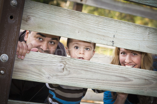 Happy Young Mixed Race Ethnic Family Looking Through Fence Stock photo © feverpitch