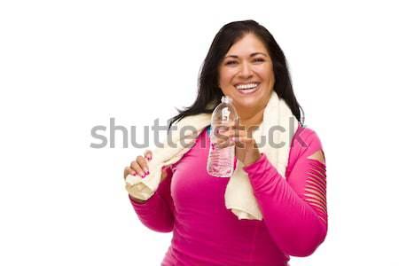 Hispanic женщину тренировки одежды воды полотенце Сток-фото © feverpitch