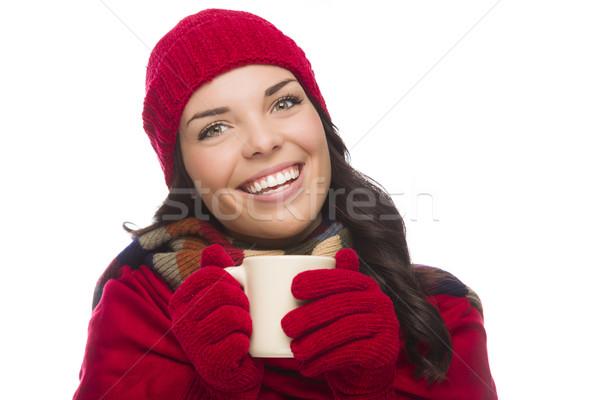 Stok fotoğraf: Kadın · kış · şapka · eldiven