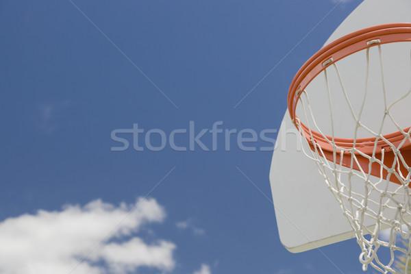 Stock fotó: Absztrakt · közösség · kosárlabda · net · kék · ég · égbolt
