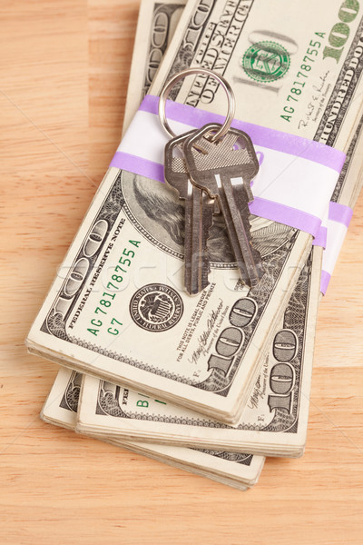 House Keys on Stack of Money Stock photo © feverpitch