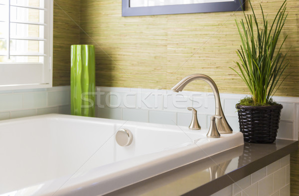 Stock photo: New Modern Bathtub, Faucet and Subway Tiles