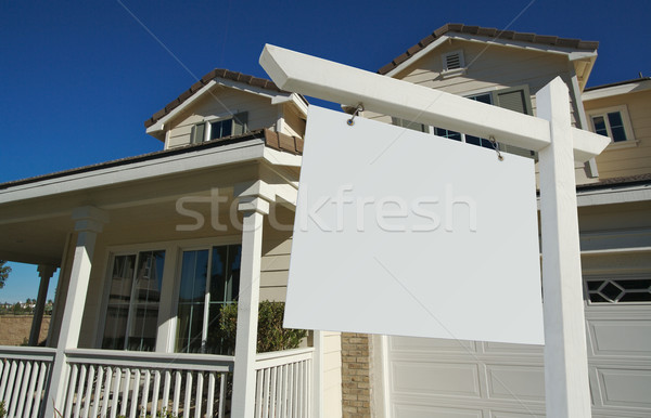Stock fotó: Ingatlan · felirat · új · otthon · gyönyörű · otthon · ajtó