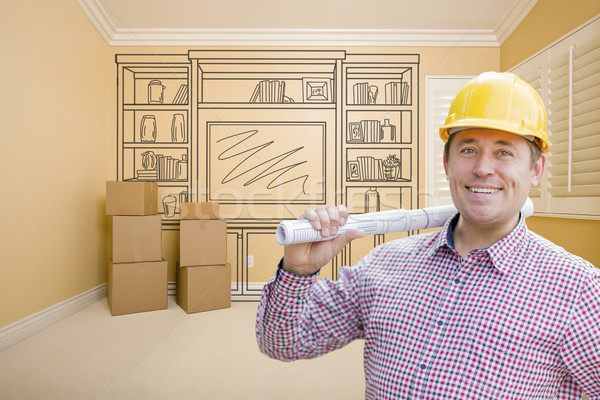 Male Construction Worker In Room With Drawing of Entertainment U Stock photo © feverpitch