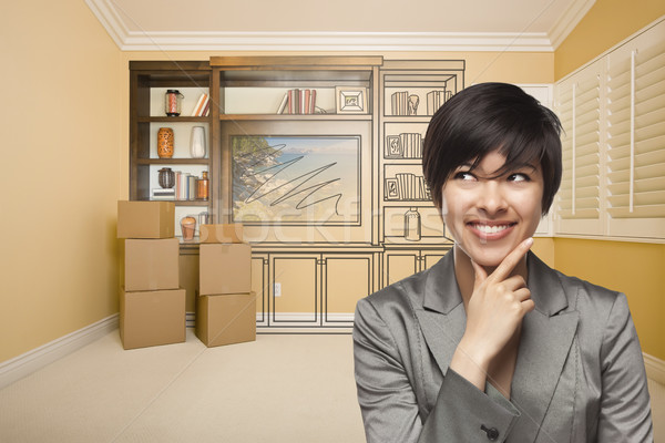 Femeie cameră desen divertisment unitate Imagine de stoc © feverpitch