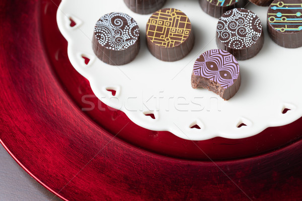 Artisan Fine Chocolate Candy On Serving Dish with Heart Design Stock photo © feverpitch