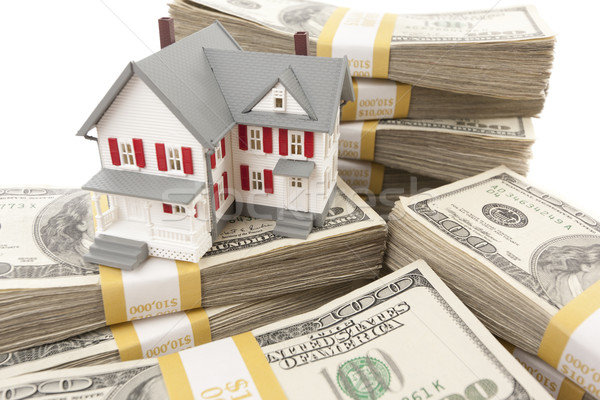 Small House with Stacks of Hundred Dollar Bills Stock photo © feverpitch