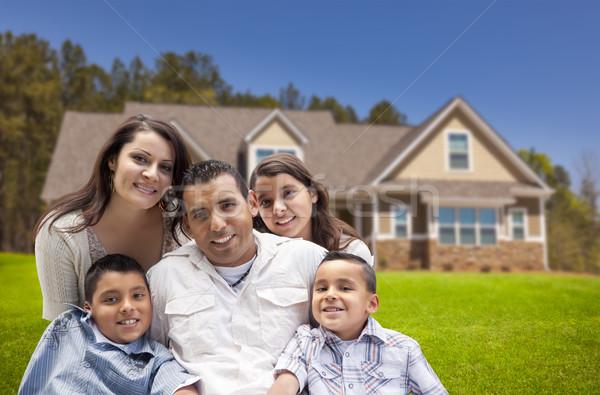 Stock fotó: Fiatal · spanyol · család · új · otthon · boldog · gyerekek