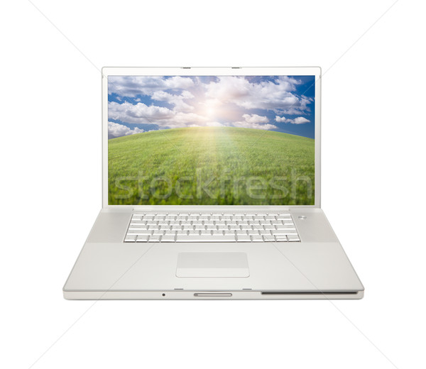 Silver Computer Laptop Isolated Stock photo © feverpitch