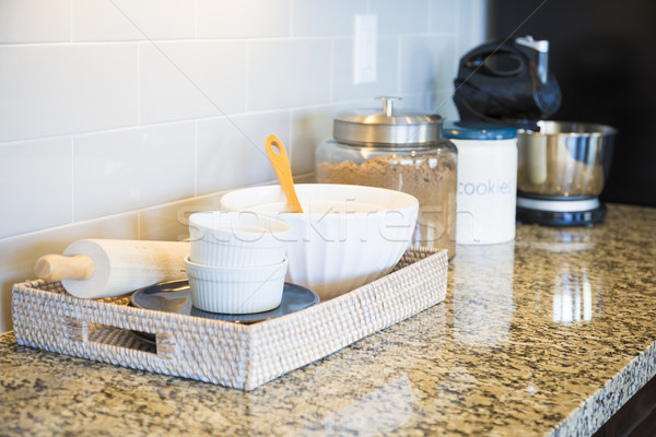 Marble Kitchen Counter Top, Subway Tile Backsplash and Baking Ac Stock photo © feverpitch