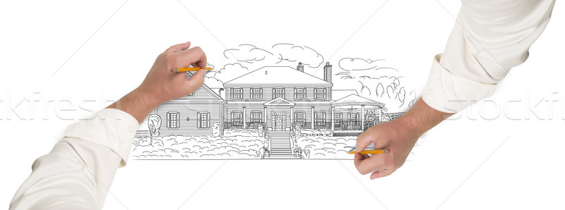 Male Hands Sketching A Beautiful House Stock photo © feverpitch