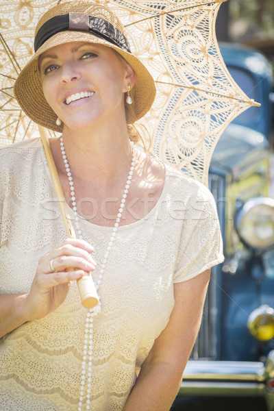 1920 fille parasol portrait belle Photo stock © feverpitch