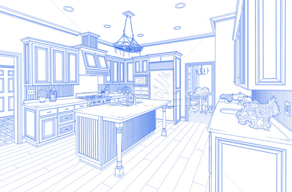 Stockfoto: Blauw · gewoonte · keuken · ontwerp · tekening · witte