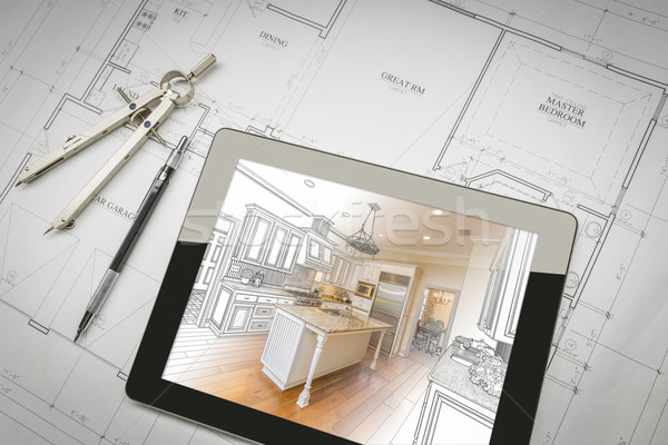 Computer Tablet Showing Kitchen Illustration On House Plans, Pen Stock photo © feverpitch