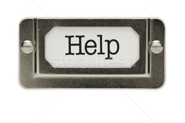 Zdjęcia stock: Pomoc · pliku · szuflada · etykiety · odizolowany · biały