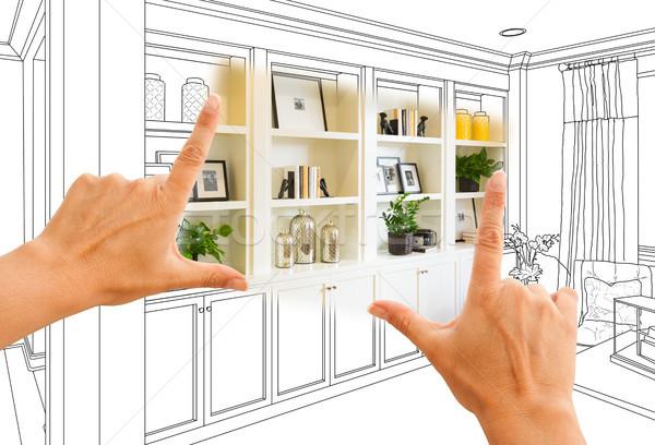 Stockfoto: Handen · gewoonte · ontwerp · tekening