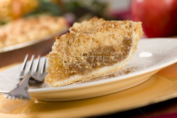 Apple Pie Slice with Crumb Topping Stock photo © feverpitch
