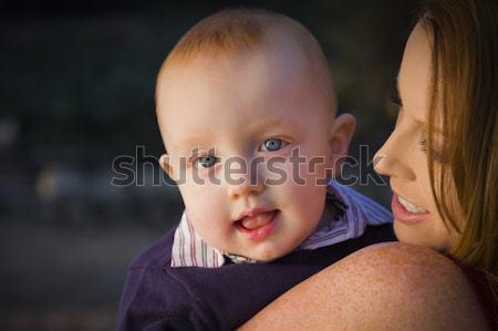 Stok fotoğraf: Genç · baba · bebek