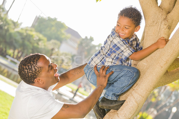 Happy Mixed Race Father Helping Son Climb a Tree Stock photo © feverpitch