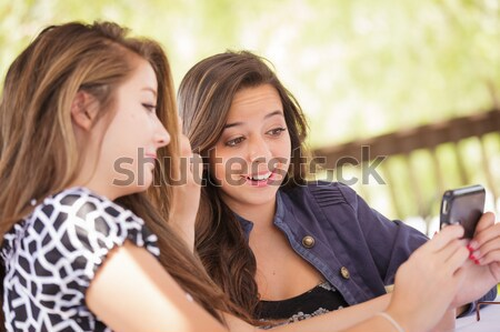 Mixed Race Woman Whispering Secrets Outside Stock photo © feverpitch