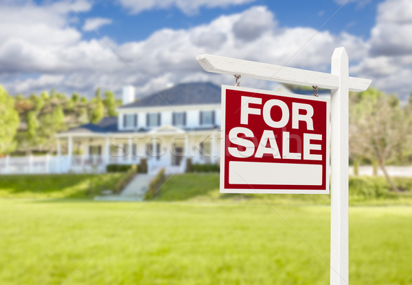 Otthon vásár felirat új ház ingatlan gyönyörű Stock fotó © feverpitch