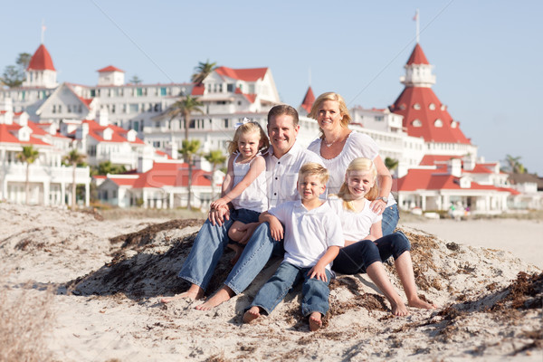 Happy Caucasian Family in Front of Hotel Del Coronado Stock photo © feverpitch