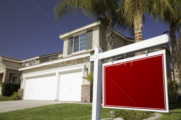 Stock photo: Blank Real Estate Sign and House