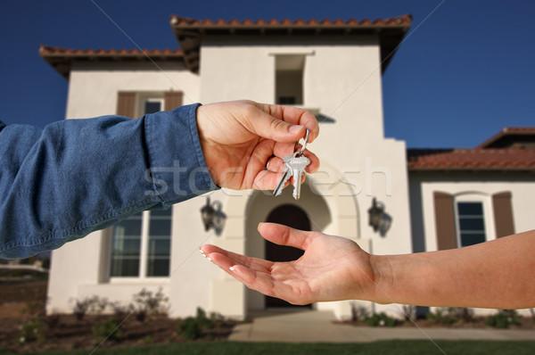Touches nouvelle maison bâtiment maison urbaine Finance Photo stock © feverpitch