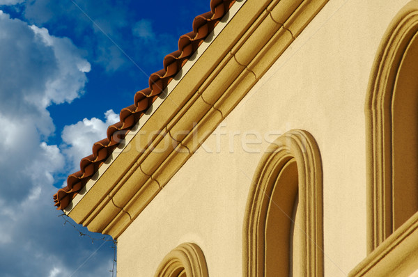 Stucco Wall Construction & Arched Windows Stock photo © feverpitch