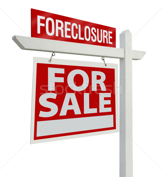 Foreclosure Real Estate Sign Isolated - Left Stock photo © feverpitch