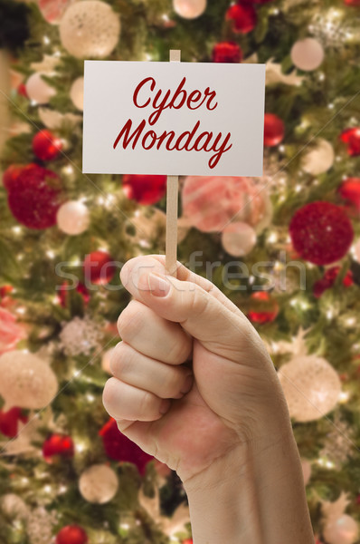 Hand Holding Cyber Monday Card In Front of Decorated Christmas T Stock photo © feverpitch