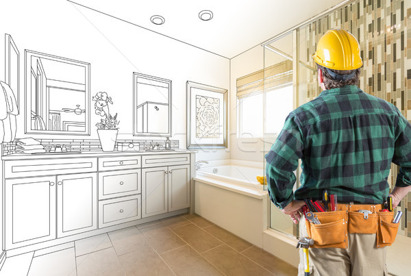 Contractor Facing Custom Master Bathroom Drawing and Photo Grada Stock photo © feverpitch