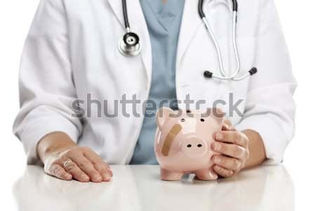 Stockfoto: Arts · stethoscoop · oren · roze · spaarvarken · vrouwelijke