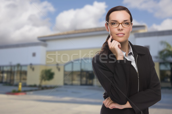 Woman In Front of Commercial Building Stock photo © feverpitch