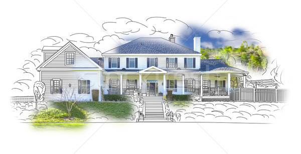 House Drawing and Photo Combination on White Stock photo © feverpitch