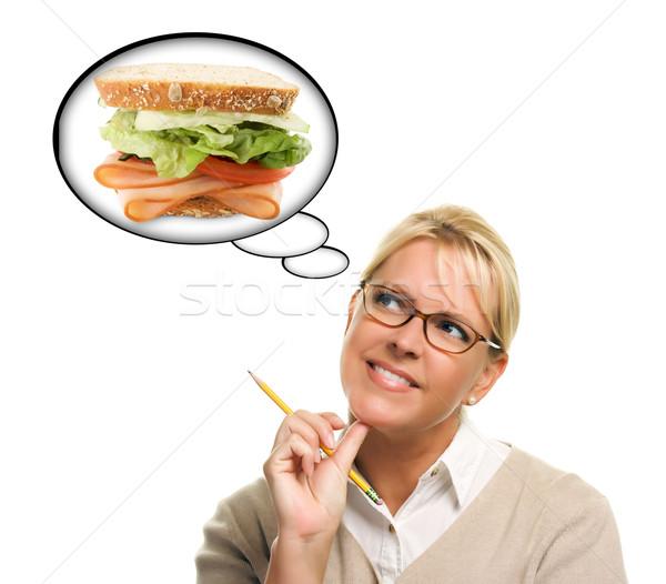 Stockfoto: Hongerig · vrouw · dacht · bubbels · groot · vers