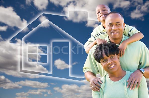 ストックフォト: 家族 · 雲 · 空 · 家 · アイコン · 幸せ