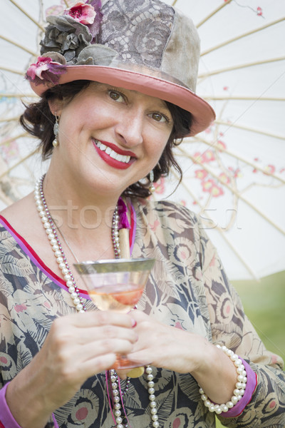 1920 fille parasol verre vin portrait Photo stock © feverpitch